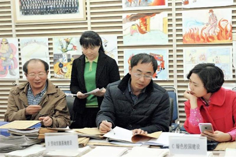 2014年11月26日省学校后勤管理中心检查组到宁江区实验中学检查节约型示范学校创建工作