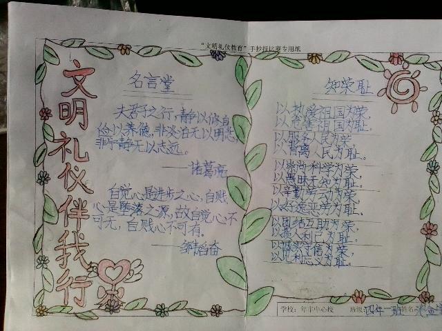 池金宇同学文明礼仪教育手抄报