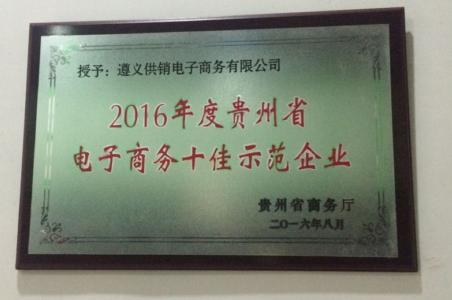 遵义供销电子商务有限公司喜获2016年度贵州省电子商务示范企业